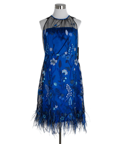 Tahari Blue Embroidery Mesh Dress 1