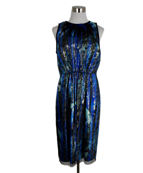 Tahari Blue Royal Blue Lurex Stripes Evening Dress 1