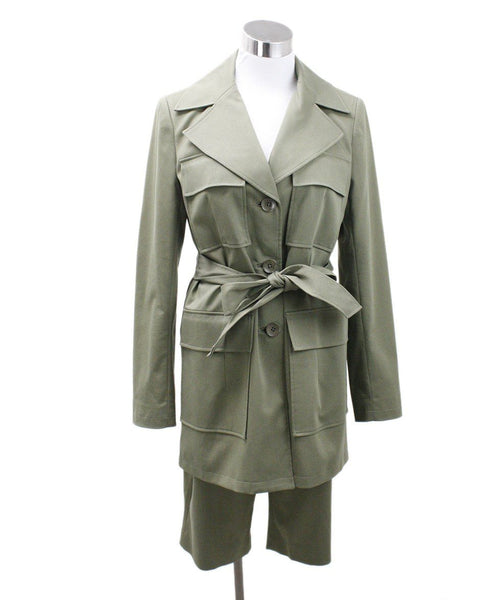 Pantsuit 2pc Tahari Size 4 Green Olive Cotton Short Suit