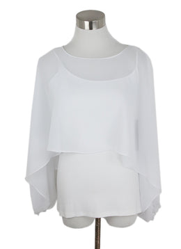 Tahari White Cotton Sheer Overlay Top 1
