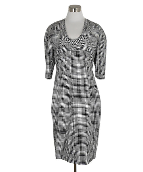 Talbot Runhof Black White Plaid Cotton Dress 1