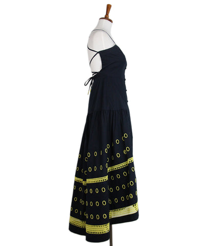 Tanya Taylor Navy Yellow Embroidery Dress 1