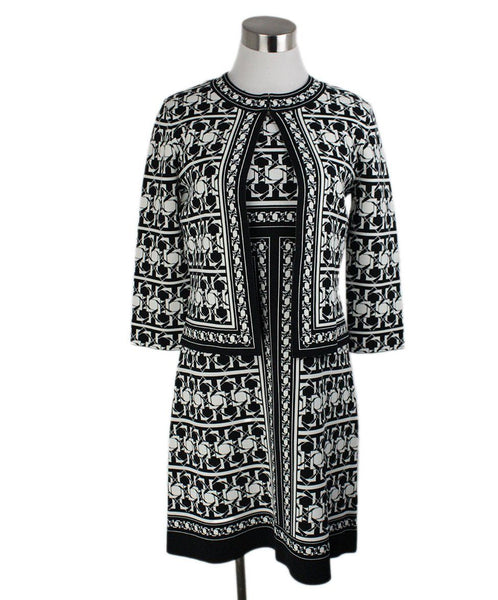 Ted Baker Black White Print Viscose Polyamide Dress 1