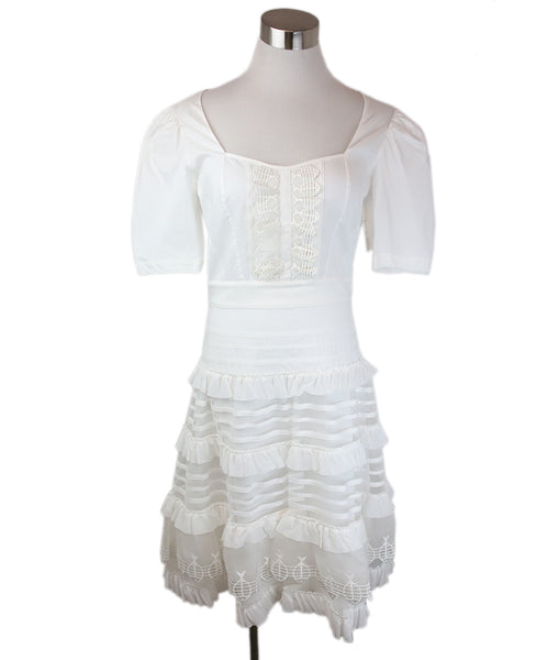 Temperley Of London White Cotton Dress with Fish Embroidery Detail Size 6