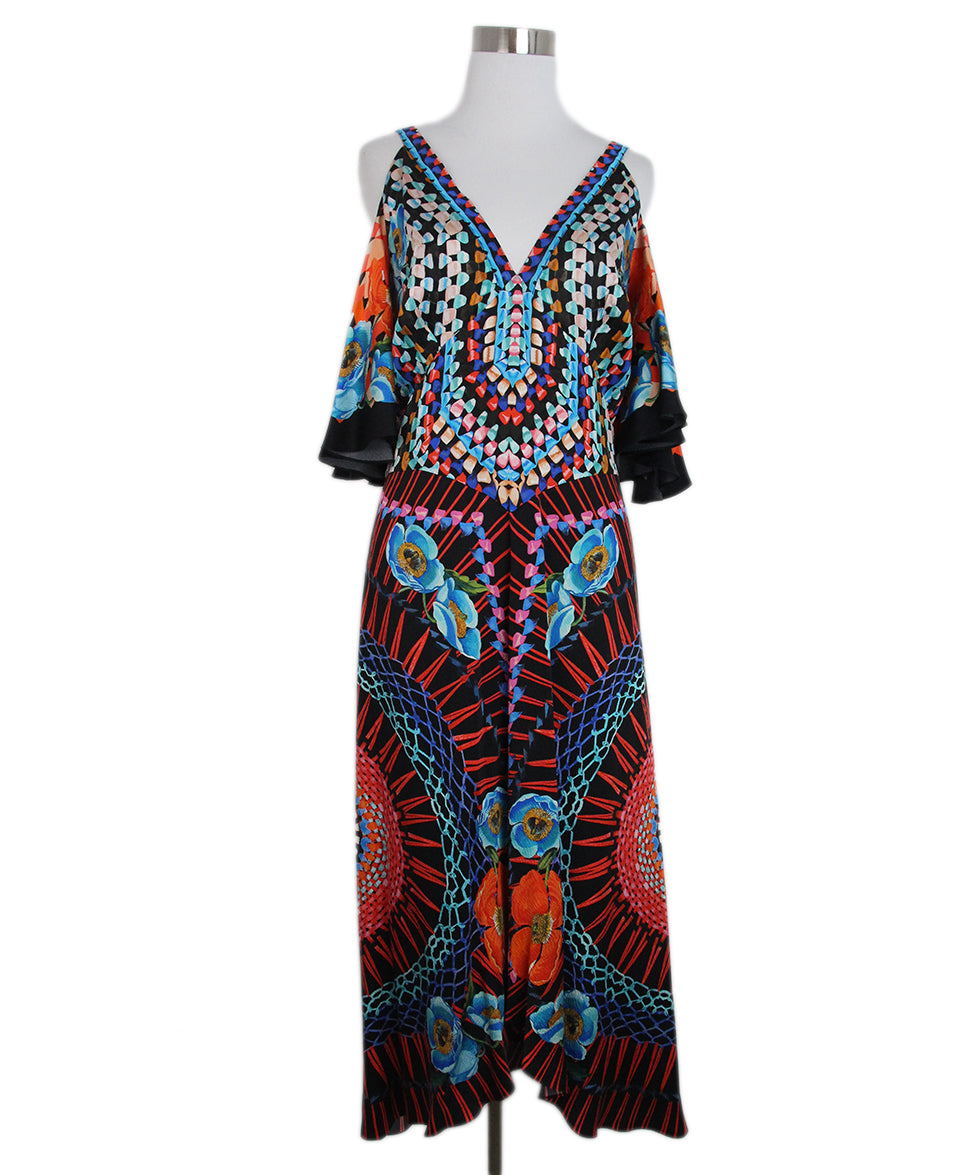 Temperley of London black orange blue print dress 1