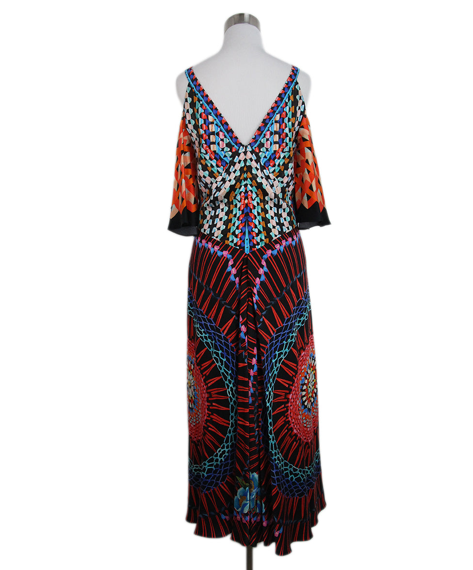 Temperley of London black orange blue print dress 3