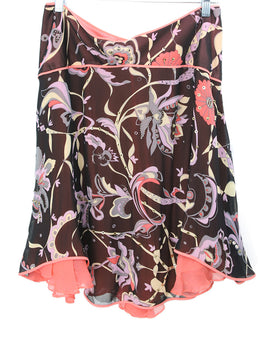 Temperley Of London Black Pink Floral Print Silk Beaded Skirt 1