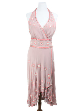 Temperley Of London Pink Silk Crochet Mirror Dress 1