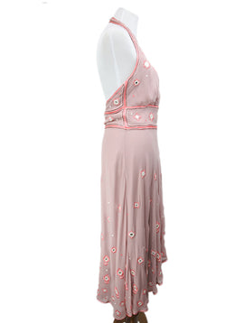 Temperley Of London Pink Silk Crochet Mirror Dress 2