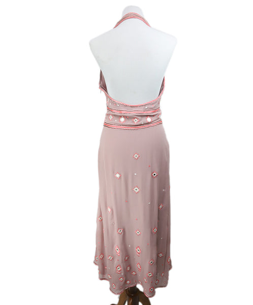 Temperley Of London Pink Silk Crochet Mirror Dress 3