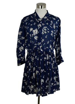 Thakoon Blue Floral Silk Long Sleeve Dress 1