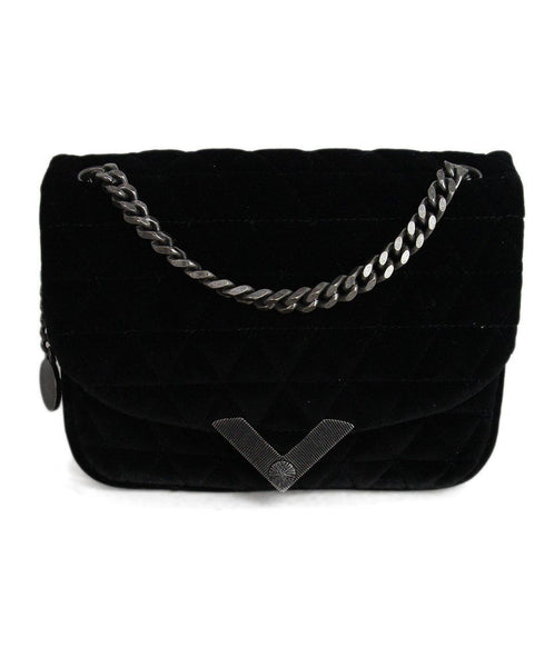 The Kooples Black Quilted Velvet Shoulder Bag 1
