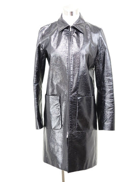 The Row Black Patent Leather Coat