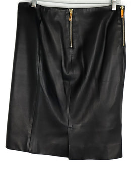 The Row Black Leather Gold Zipper Skirt 1