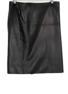 The Row Black Leather Gold Zipper Skirt 2