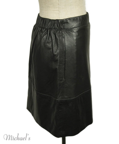 The Row Black Charcoal Leather Skirt Sz 2