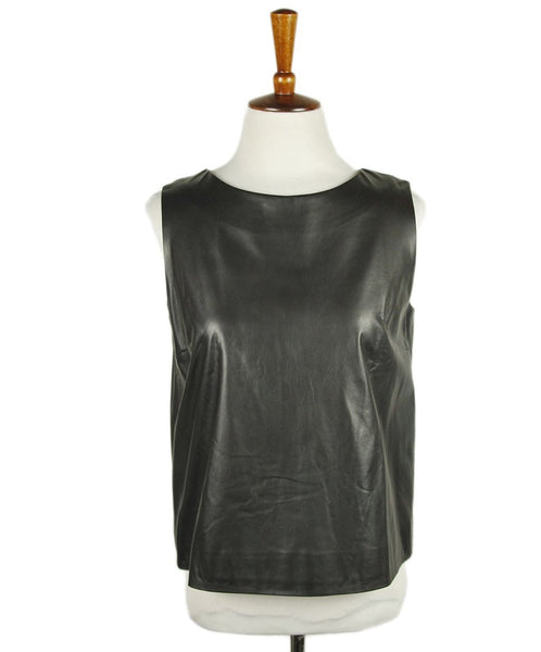 The Row Charcoal Leather Top Sz 6