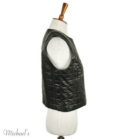 The Row Black Quilted Leather Vest Sz 8