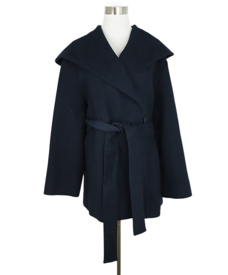 Chanel Navy Grey Shearling Coat Sz 8