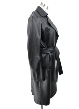 The Row Navy Leather Coat 2