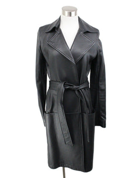 The Row Navy Leather Coat 1
