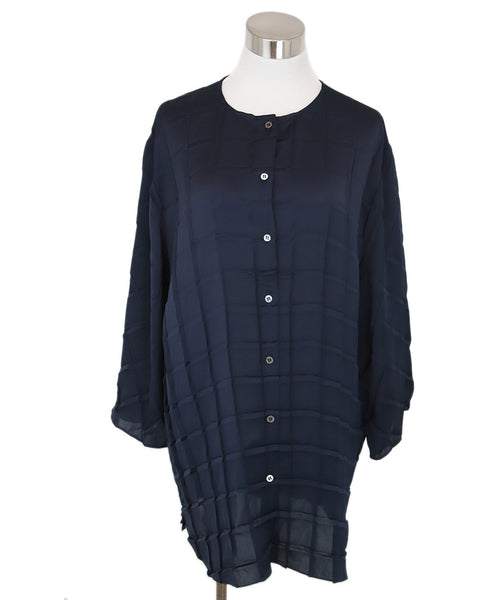 The Row Navy Silk Top 1