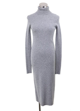 The Row Grey Cashmere Turtleneck Longsleeve Dress