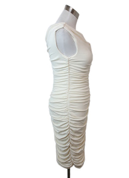 The Row Ivory Viscose Ruched Dress 2