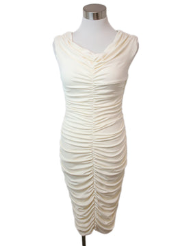 The Row Ivory Viscose Ruched Dress 1