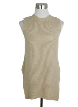 The Row Neutral Beige Cashmere Sleeveless Sweater 1