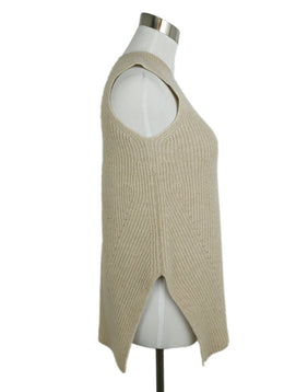 The Row Neutral Beige Cashmere Sleeveless Sweater 2