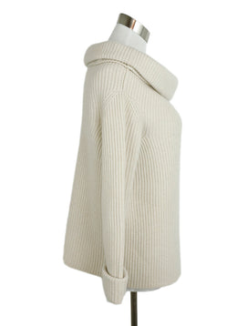 The Row Neutral Cashmere Cowl Neck Sweater 2