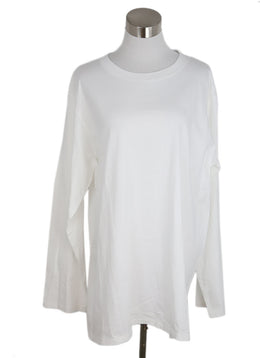 The Row White Cotton Crewneck Long Sleeve Top 1