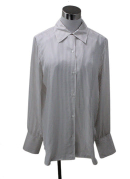 The Row White Striped Blouse sz 8