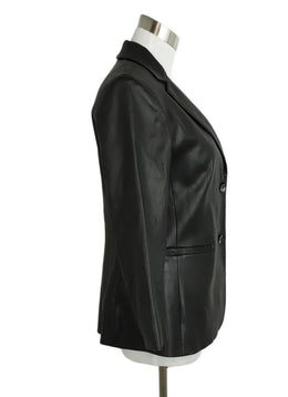 The Row Black Leather Blazer Jacket 2