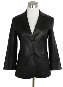 The Row Black Leather Blazer Jacket 1