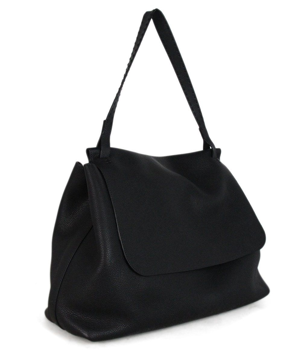 The Row black leather shoulder bag 2