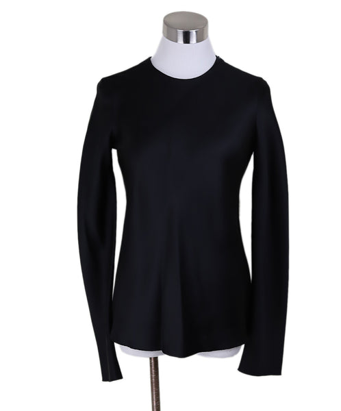 The Row Black Silk Longsleeve Blouse