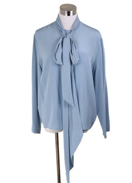 The Row Blue Silk Blouse