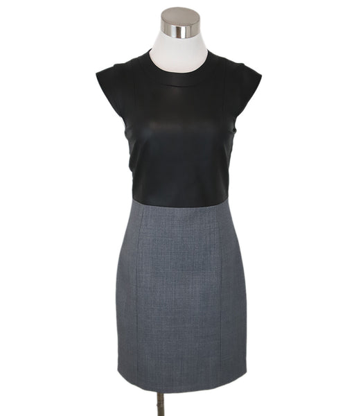 Theory Black Grey Cotton Polyester Wool Dress 1
