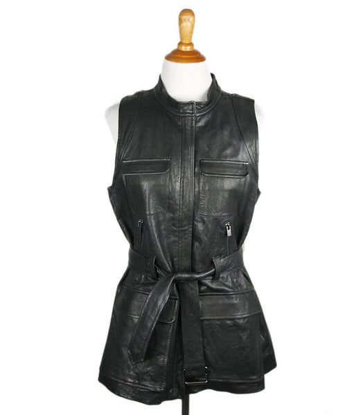 Theory Black Leather Vest Sz L