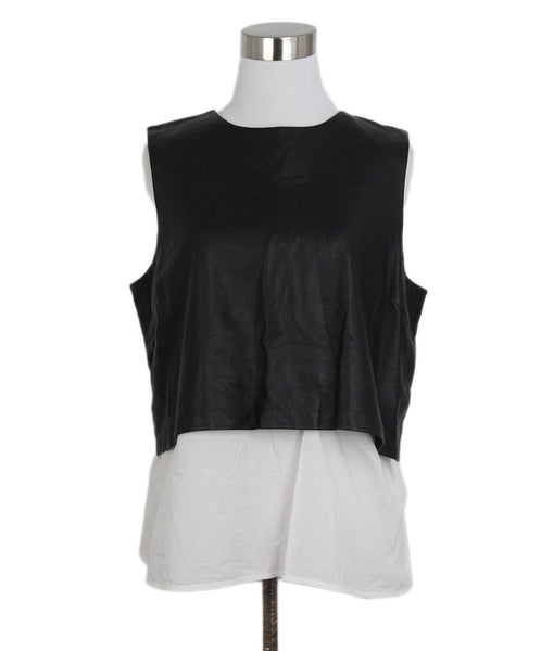 Theory Black Leather White Cotton Top 1