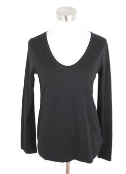 Theory Black Cotton Longsleeve Top 1