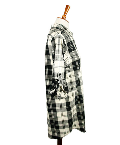 Theory Black White Wool Plaid Top 1