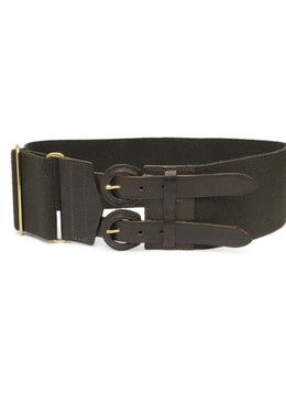 Theory Brown Leather Elastic Trim Belt