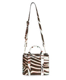 Theory Brown and White Calf Hair Handbag 1