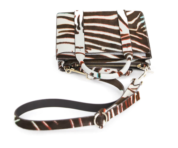 Theory Brown and White Calf Hair Handbag 5