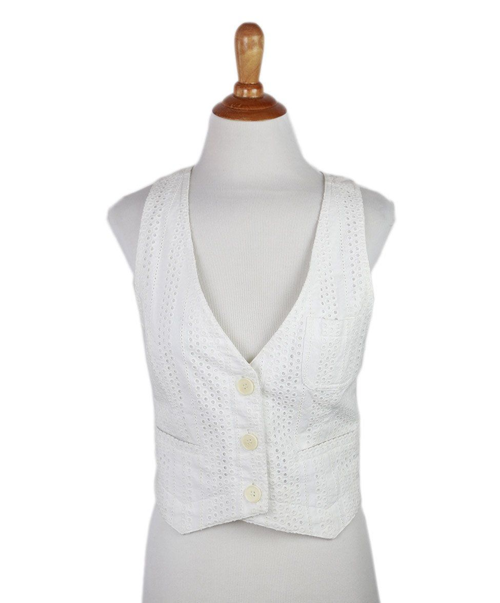 Theory  White Cotton Eyelet Vest  Sz 6