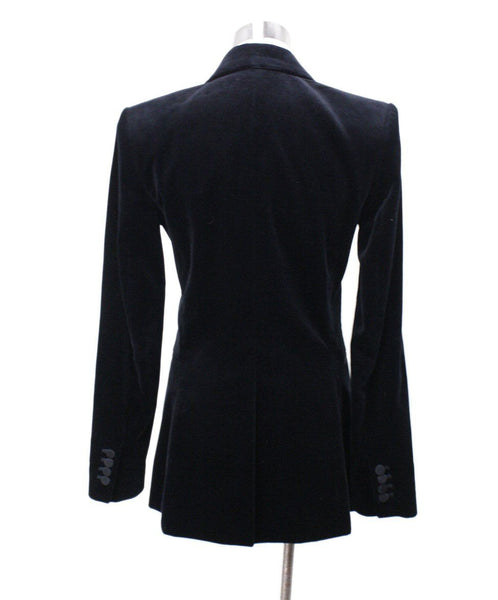 Theory Black Cotton Velvet Jacket Sz 2