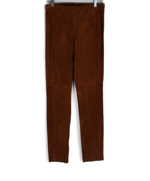 Theory Brown Tobacco Suede Pants 1